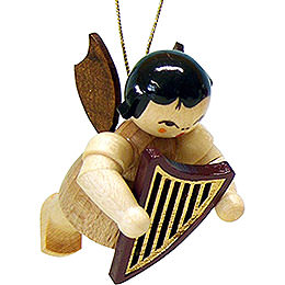 Tree Ornament  -  Angel with Lyre  -  Natural  -  Floating  -  5,5cm / 2.1 inch