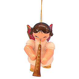 Tree Ornament  -  Angel with Oboe  -  Red Wings  -  Floating  -  5,5cm / 2,1 inch