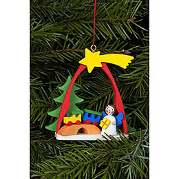 Tree Ornament  -  Angel with Train  -  7,4x6,3cm / 3x2 inch