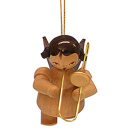 Tree Ornament  -  Angel with Trombone  -  Natural Colors  -  Floating  -  5,5cm / 2,1 inch