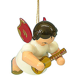 Tree Ornament  -  Angel with Ukulele  -  Red Wings  -  Floating  -  5,5cm / 2,1 inch