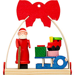 Tree Ornament  -  Bow Santa Claus with Sleigh  -  7cm / 2.8 inch