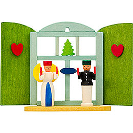Tree Ornament  -  Christmas Window Angel and Miner  -  6cm / 2.4 inch