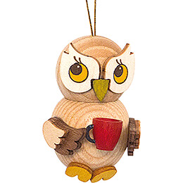 Tree Ornament  -  Owl Child with Cup  -  4cm / 1.6 inch