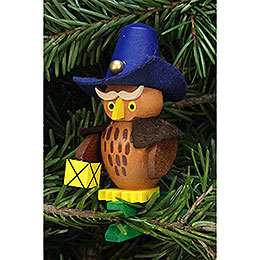 Tree Ornament  -  Owl Nightwatchman on Clip  -  5,3x7,3cm / 2.1x2.9 inch