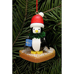 Tree Ornament  -  Penguin on Ginger Bread Heart  -  5,0x6,0cm / 2x2 inch
