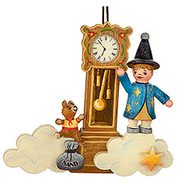 Tree Ornament  -  Sandman Teddy Clock  -  9cm / 3,5 inch