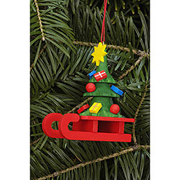Tree Ornament  -  Sleigh with Christbaum  -  5,2x6,4cm / 2.0x2.5 inch