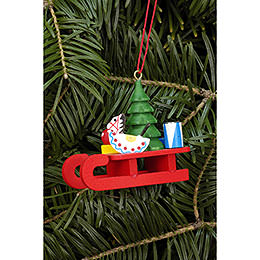 Tree Ornament  -  Sleigh with Toys  -  5,2x4,6cm / 2.0x1.8 inch