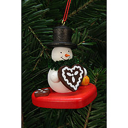 Tree Ornament  -  Snowman on Heart  -  5,1x5,6cm / 2x2 inch