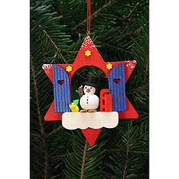Tree Ornament  -  Star Window with Snowman  -  9,5x9,5cm / 4x4 inch
