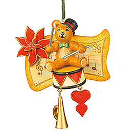 Tree Ornament  -  Teddy Drummer  -  7cm / 3 inch