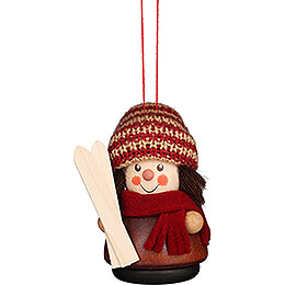 Tree Ornament  -  Teeter Man  -  Skier Natural  -  8cm / 3.1 inch