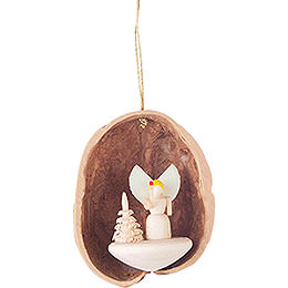Tree Ornament  -  Walnut Shell with Angel  -  4,5cm / 1.8 inch
