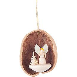 Tree Ornament  -  Walnut Shell with Angel  -  4,5cm / 1.8 inch