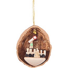 Tree Ornament  -  Walnut Shell with Train  -  4,5cm / 1.8 inch