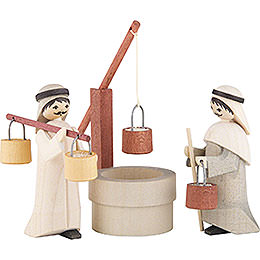 Water Carriers with Well, Set of Three, Stained  -  7cm / 2.8 inch