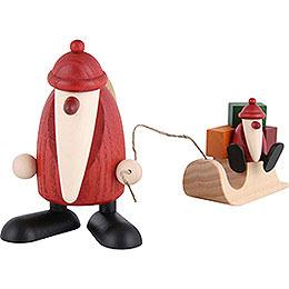 Weihnachtsmann mit Schlitten und Kind  -  9cm