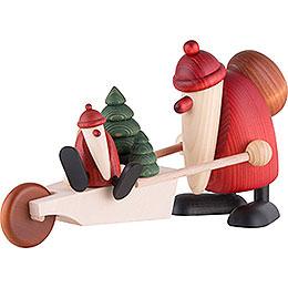 Weihnachtsmann mit Schubkarre  -  19cm