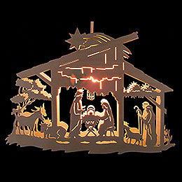 Window Picture  -  Nativity Scene in Stable  -  25cm / 9.8 inch