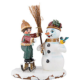 Winter Children Boy with Snowman  -  11cm / 4 inch