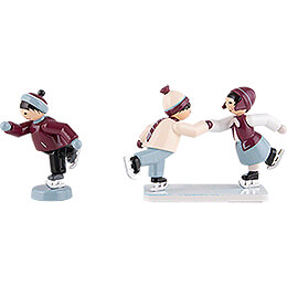 Winter Children Ice Skaters  -  3 pcs.  -  purple  -  7cm / 2.8 inch