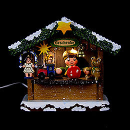 Winter Children Market Booth Gifts House  -  10cm / 4 inch