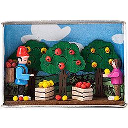 Zündholzschachtel Apfelernte  -  4cm